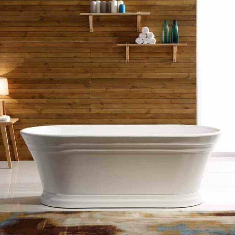 Baignoire lot ovale gain de place 150x79 cm acrylique blanc city - Baignoire ilot 150 cm ...