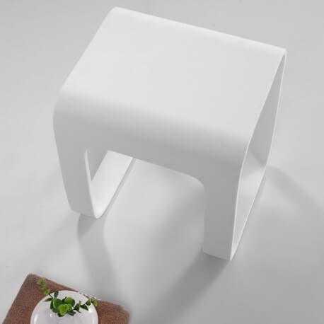 tabouret siège de salle de bain 35x38 cm composite blanc mat strat