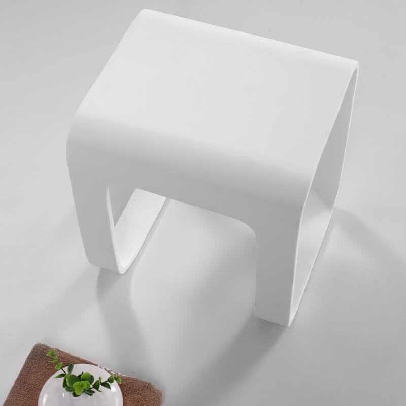 Tabouret si ge de salle de bain 35x38 cm composite blanc - Accessoire salle de bain blanc ...