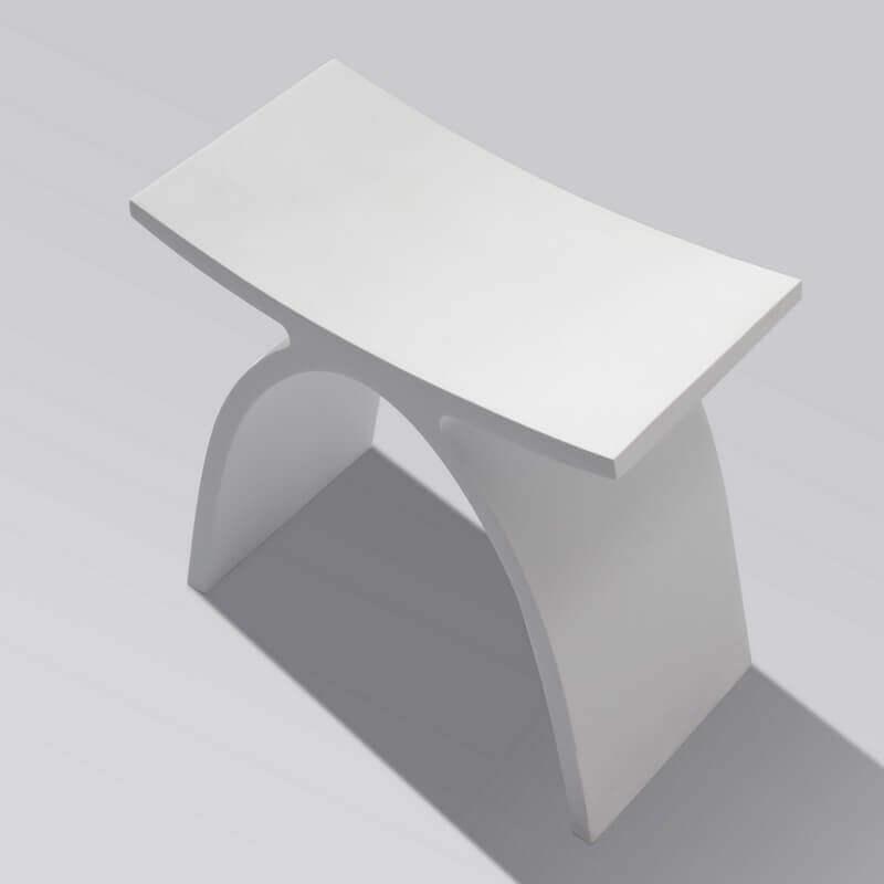 Tabouret si ge de salle de bain 42x23cm composite blanc mat mineral - Tabouret salle de bain leroy merlin ...