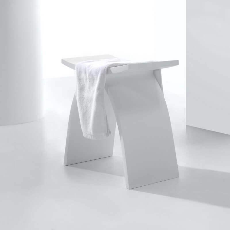 Tabouret Solid surface Blanc, Minéral - Tabouret et Siège|Rue du Bain