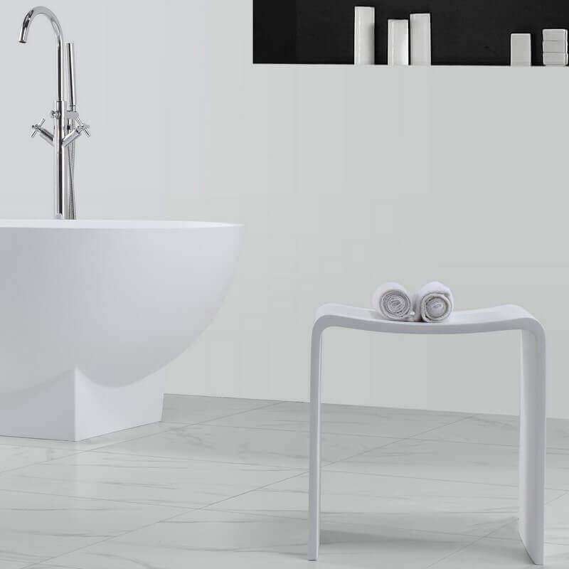 Tabouret si ge de salle de bain 40x42cm composite blanc - Tabouret de salle de bain ...