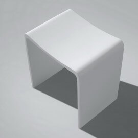 Tabouret de Salle de Bain Blanc Mat, 40x42 cm,Composite, Essential