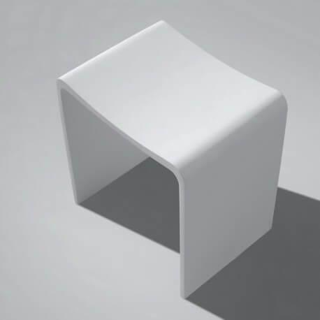 Tabouret de Salle de Bain Blanc Mat, 40x42 cm,Composite, Essential | Rue du Bain