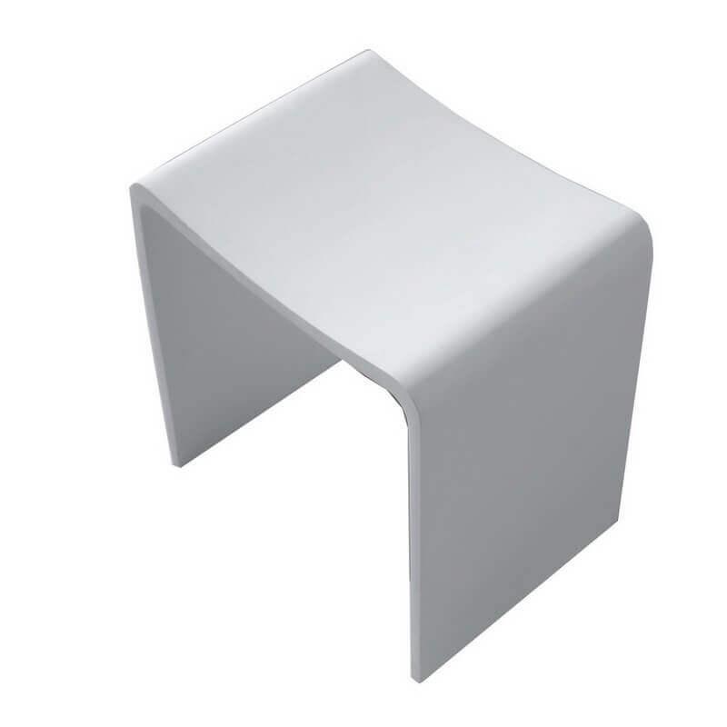 Tabouret Solid surface Blanc mat, Essential - Siège de salle de bain