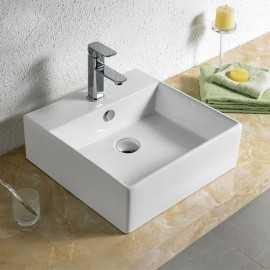Vasque à Poser Carrée, 46x46 cm, Céramique, Quadra