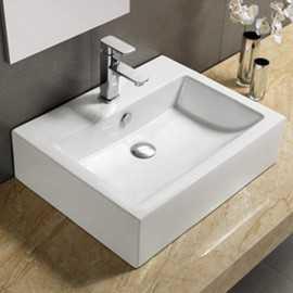 Vasque à Poser avec Plage Robinetterie, 57x45 cm, Céramique, Square