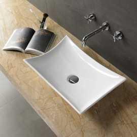 Vasque à Poser sans plage Robinet, 57x39 cm, Céramique, Wing