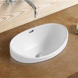 Vasque Semi Encastrable Ovale, 60x38 cm, Céramique, Soft