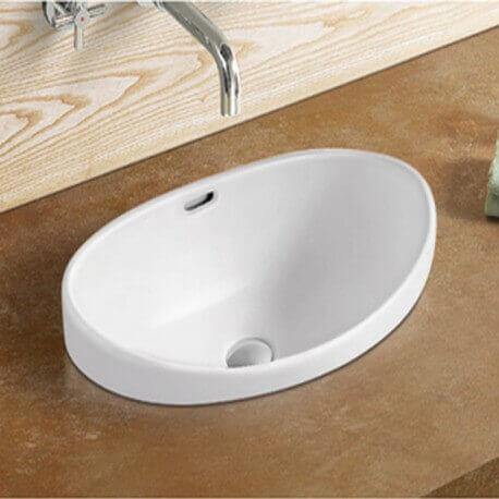 vasque semi encastrable ronde 46x46 cm c ramique ego. Black Bedroom Furniture Sets. Home Design Ideas