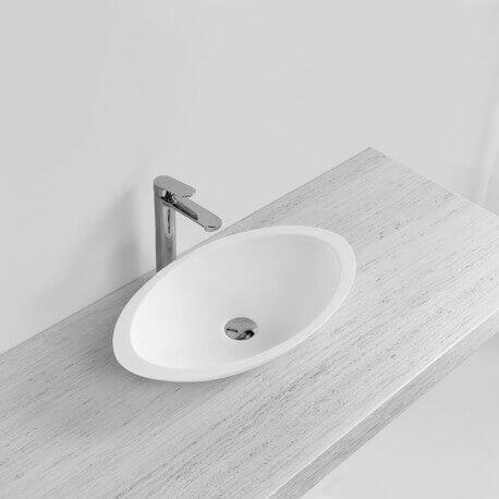 Vasque à Poser Ovale Blanc Mat, 59x35 cm, Composite, Soon