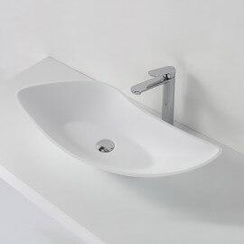 Grande Vasque à Poser Asymétrique Blanc Mat, 80x38 cm, Composite, Ondea