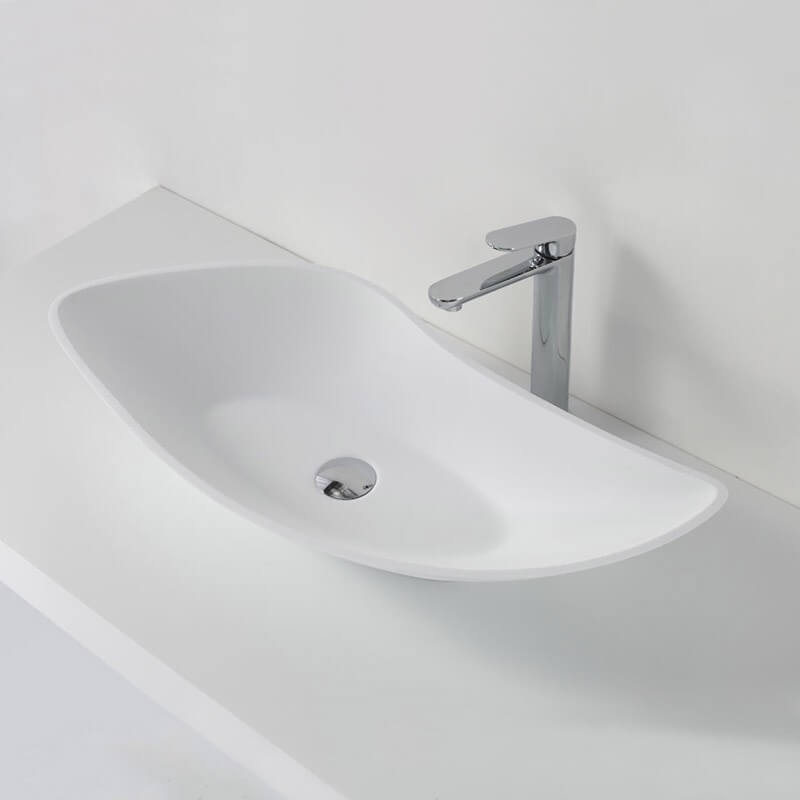 vasque poser asym trique blanc mat ondea vasques composit. Black Bedroom Furniture Sets. Home Design Ideas