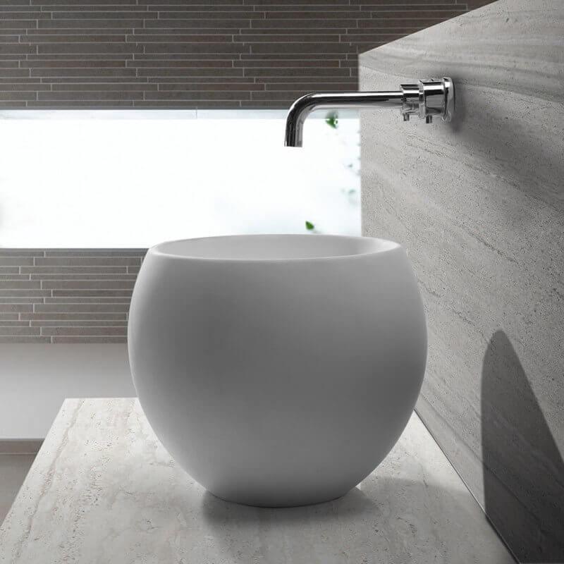 vasque poser ronde haute solid surface blanc mat 40 cm nature - Robinet Haut Pour Vasque A Poser