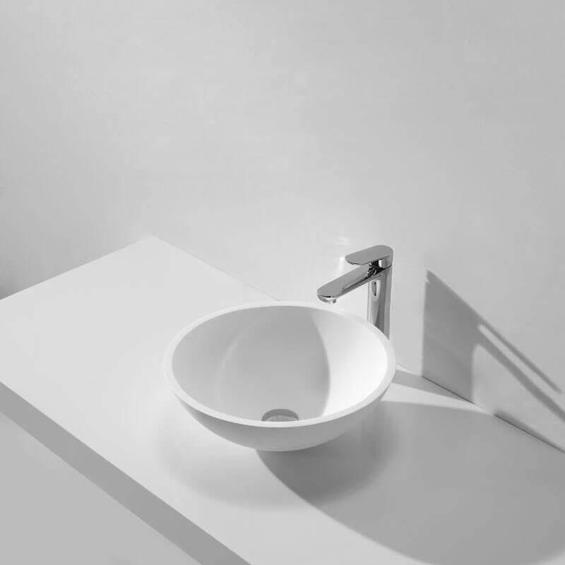 vasque bol blanc composite circle vasque poser composite rue du bain. Black Bedroom Furniture Sets. Home Design Ideas