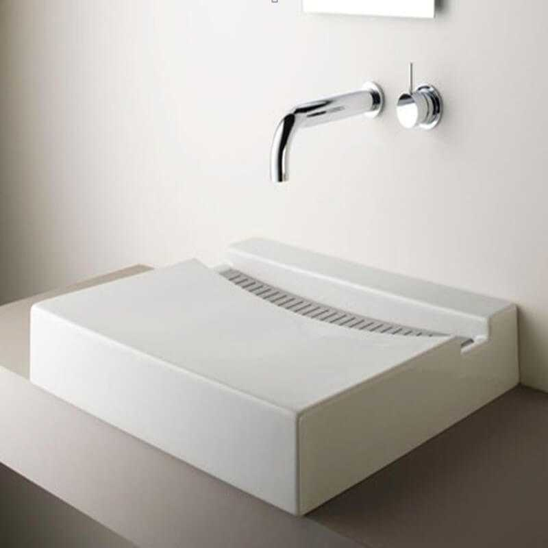 Vasque rectangulaire poser 60x46x17 cm corian blanc for Lavabo rectangulaire salle de bain