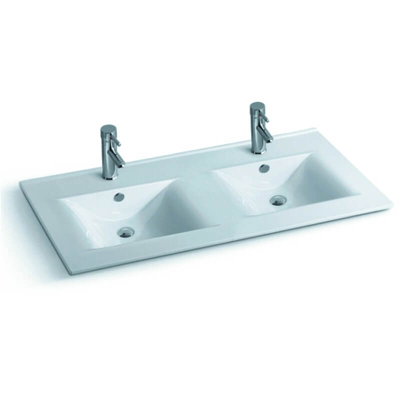 lavabo encastrable double vasque 120x46 cm c ramique space