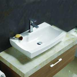 Vasque à Poser Rectangulaire - Céramique Blanc - 48x32 cm - Cosmopolitan