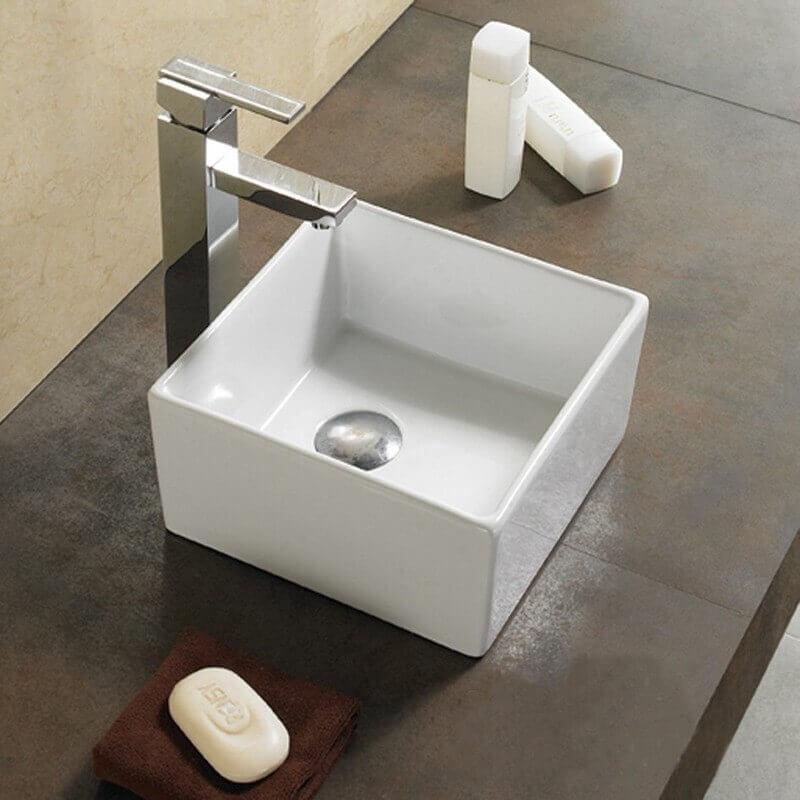vasque carr e poser 27x27x14 cm c ramique blanc ness. Black Bedroom Furniture Sets. Home Design Ideas