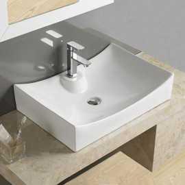 grande vasque rectangulaire poser 66x45 cm c ramique blanche lineare. Black Bedroom Furniture Sets. Home Design Ideas