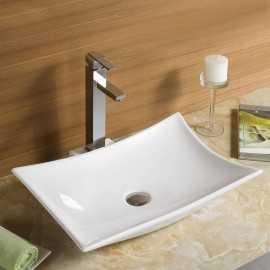 Vasque à Poser avec plage Robinet, 57x39 cm, Céramique, Wing
