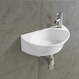 Lave Main Ovale, 43x29 cm,Céramique Blanc, Elipse