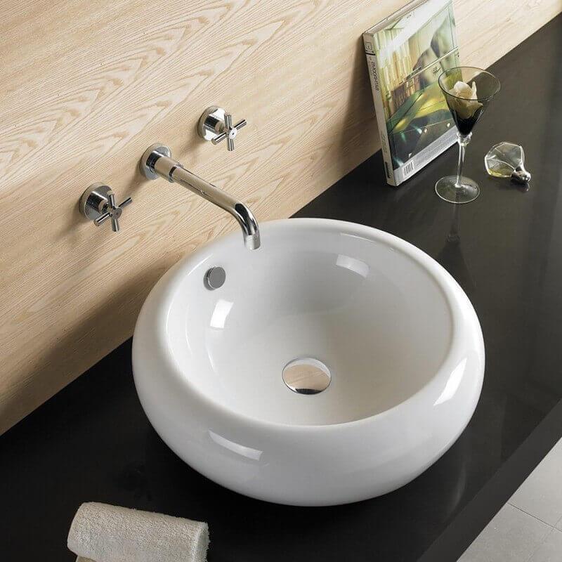vasque avec trop plein int gr Vasque à Poser Galet - Céramique - 43 cm - Ove