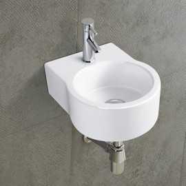 Lave main rond céramique blanc - 35x27 cm - Moon