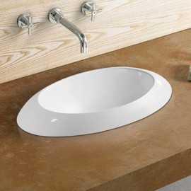 Vasque semi encastrable ovale céramique - 60x34 cm - Loch