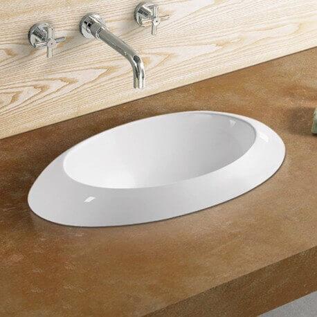 Vasque Semi Encastrable Ovale, 60x34 cm, Céramique, Loch