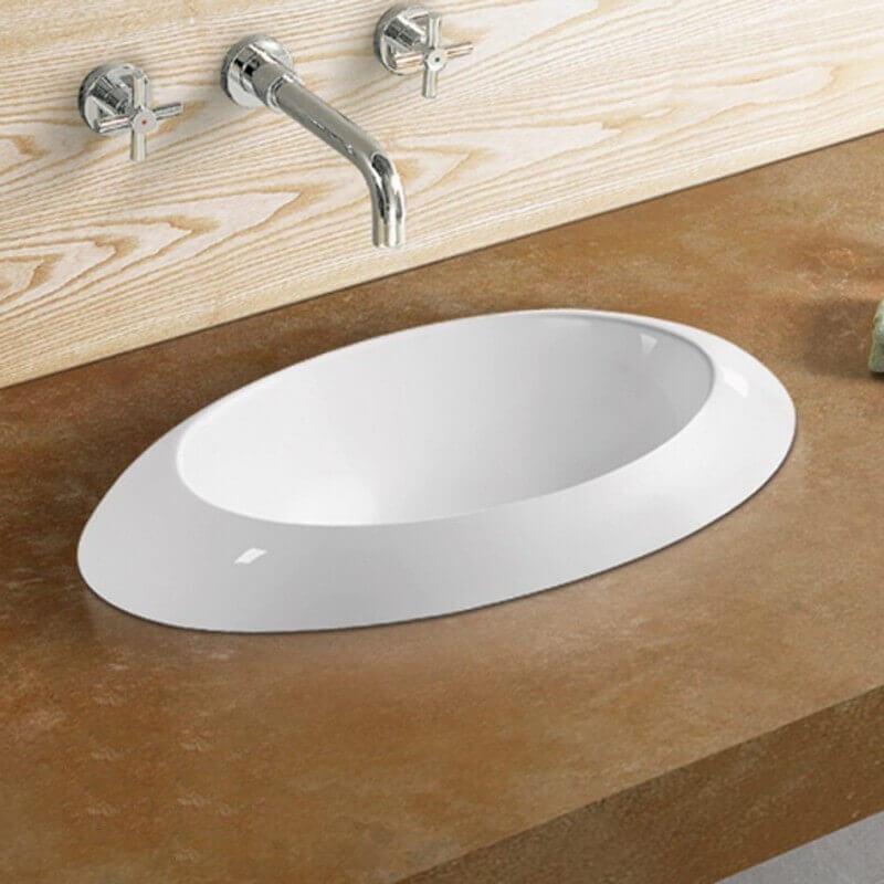 vasque ronde semi encastr e 60x34x16 cm c ramique blanc loch. Black Bedroom Furniture Sets. Home Design Ideas