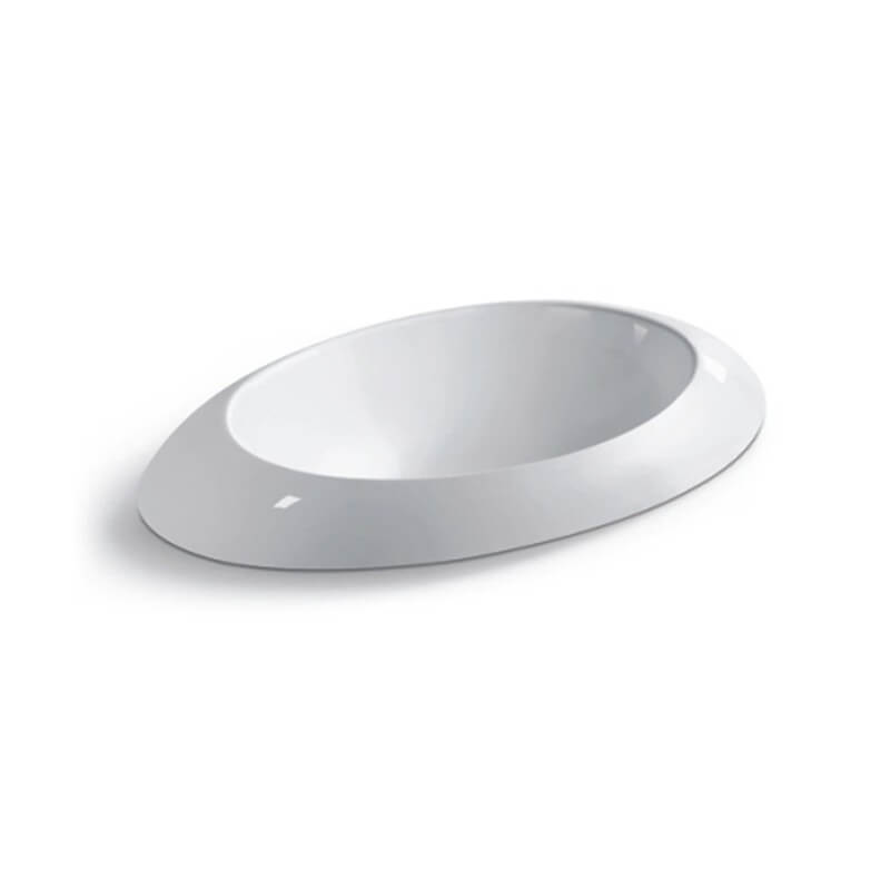 Vasque ronde semi encastr e 60x34x16 cm c ramique blanc loch for Baignoire semi encastrable