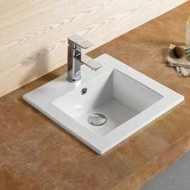 Vasque encastrable carrée céramique Bent | Rue du Bain