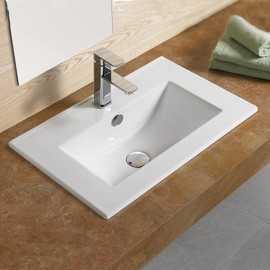 Lavabo Encastrable Simple Vasque, 60x40 cm, Céramique, Compact