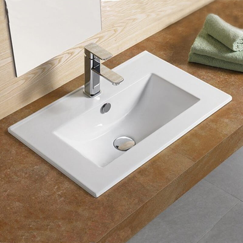 Vasque encastrable 60x40 cm c ramique compact for Salle de bain rectangulaire 8m2