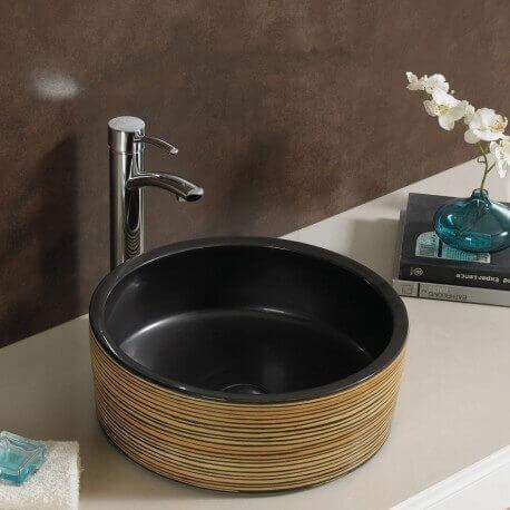 Vasque poser ronde en c ramique soon vasque noire rue du bain - Vasque cuisine ...