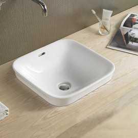 Vasque Semi Encastrable Carrée, 43x43 cm, Céramique, Life