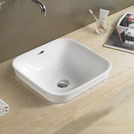 vasque poser carr e semi encastr e 43x43 cm cm c ramique. Black Bedroom Furniture Sets. Home Design Ideas