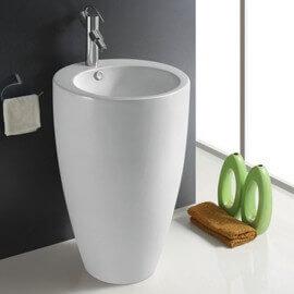 Lavabo Totem Rond, 50x83 cm, Céramique blanc, Ove