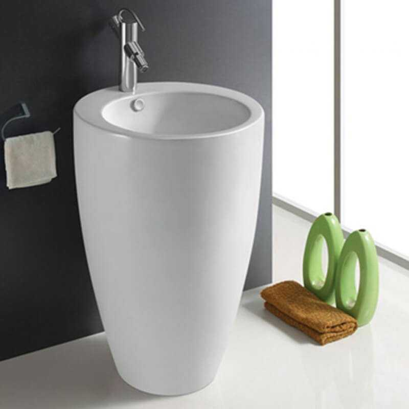 Lavabo rond c ramique blanc brillant ove lavabo totem for Ove salle de bain