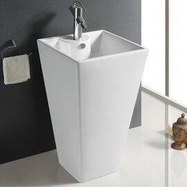 Lavabo Totem Carré, 48x83 cm, Céramique blanc, Line