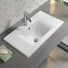 Lavabo Encastrable Simple Vasque, 60x46 cm, Céramique, Strada