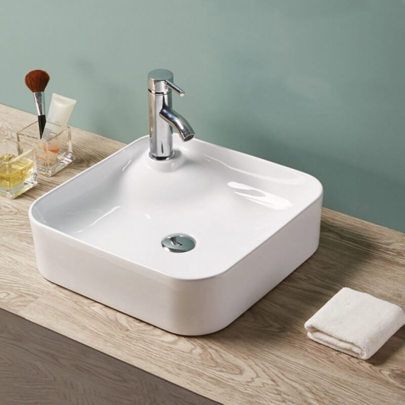 Vasque poser carr e 43x43 cm c ramique urban for Destockage robinetterie salle de bain