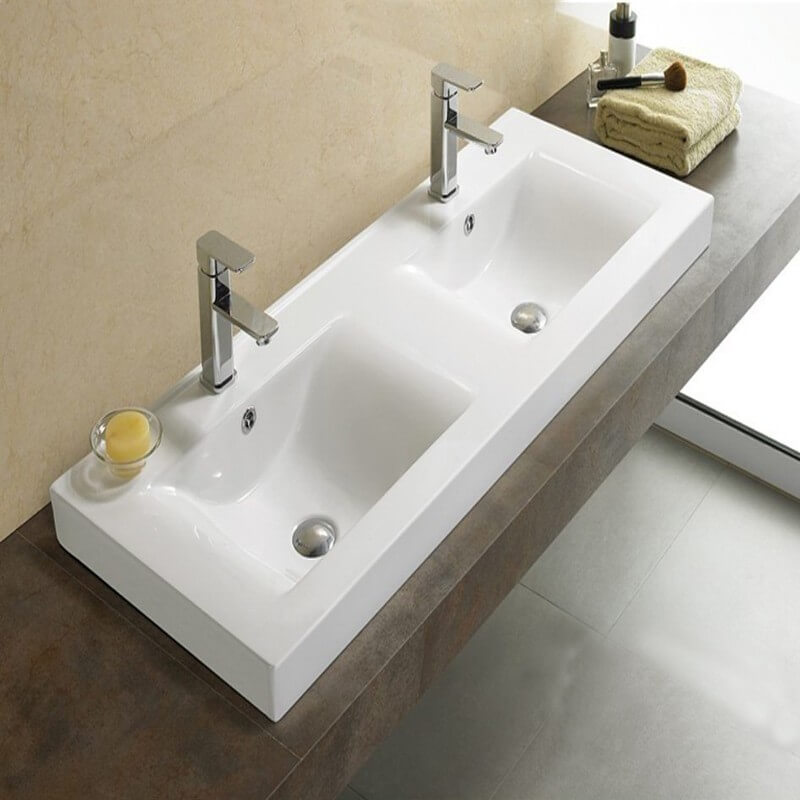 Lavabo poser double vasque 120x46 cm c ramique essentiel for Meuble lavabo double vasque