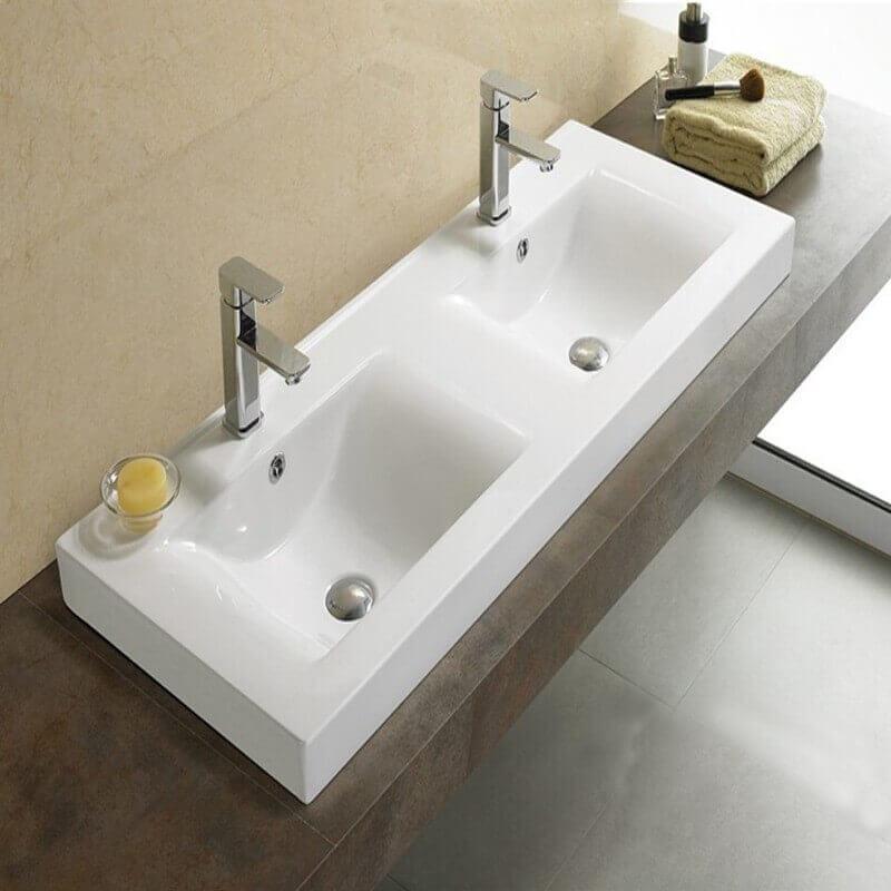 lavabo poser double vasque 120x46 cm c ramique essentiel. Black Bedroom Furniture Sets. Home Design Ideas