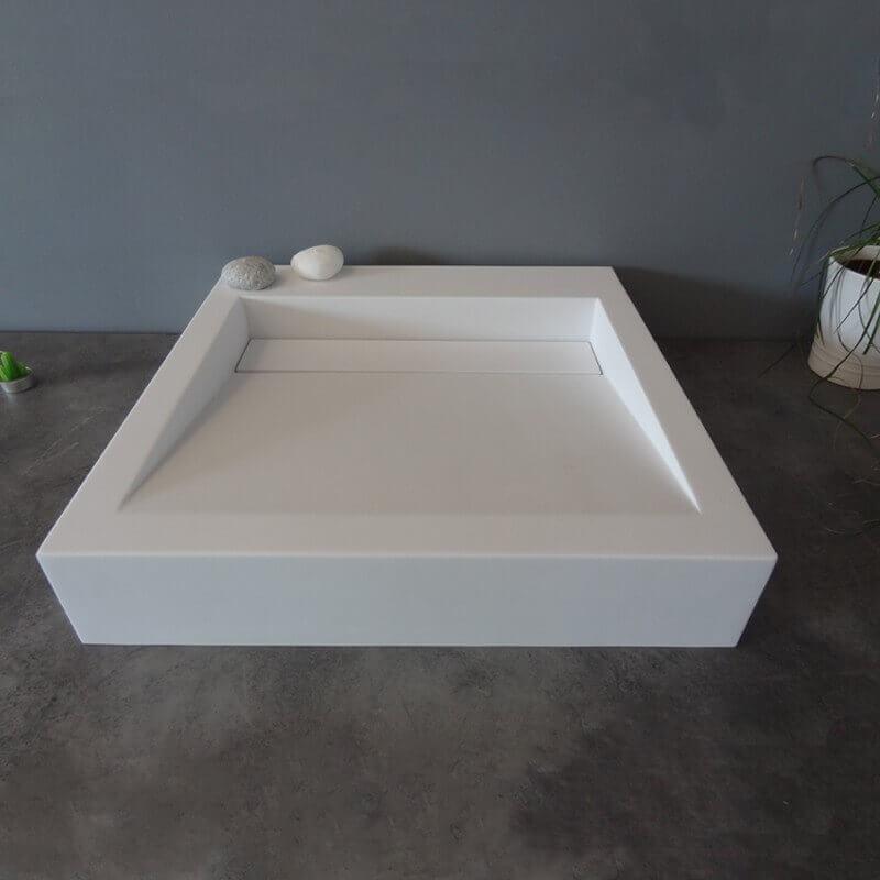 vasque carr e poser 51x51x9 cm r sine type corian blanc. Black Bedroom Furniture Sets. Home Design Ideas
