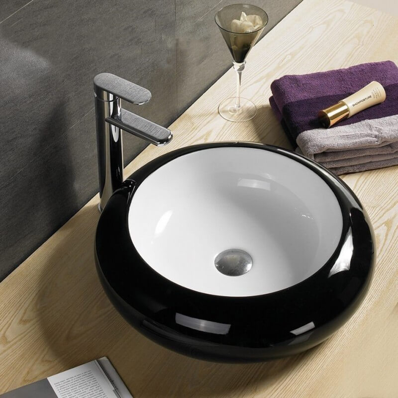 vasque poser ronde noir et blanc style vasques noires. Black Bedroom Furniture Sets. Home Design Ideas