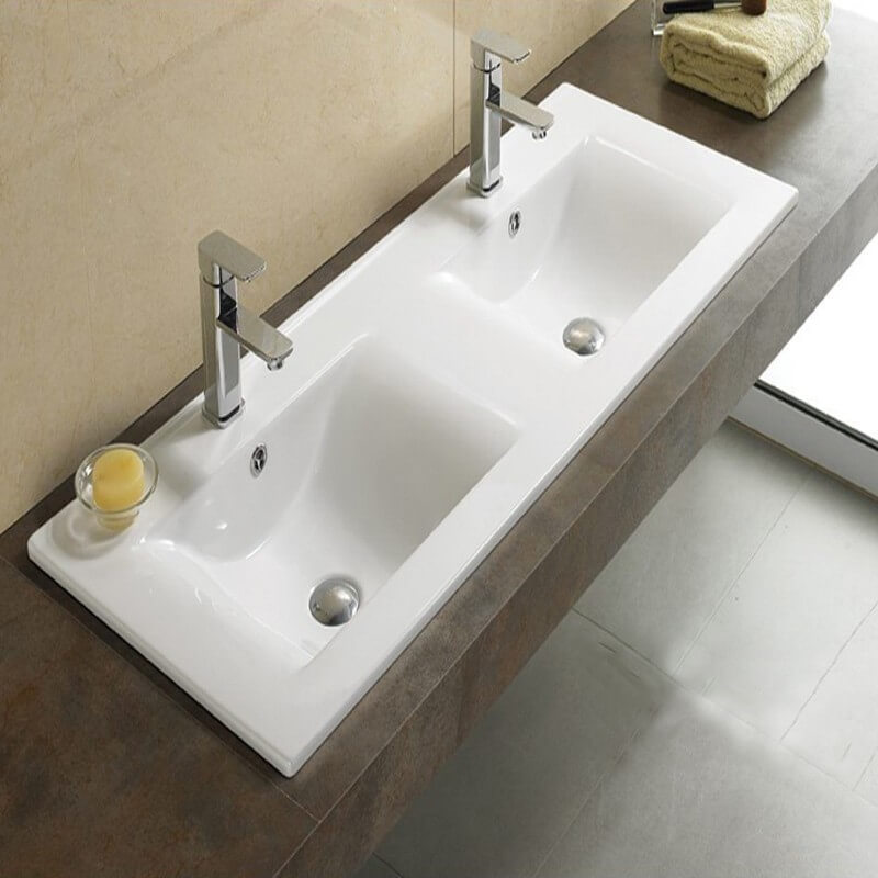 Lavabo encastrable double vasque 120x46 cm c ramique space for Lavabos doubles salle bain