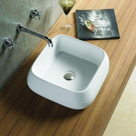 Vasque à Poser Carrée Céramique Cube | Rue du Bain