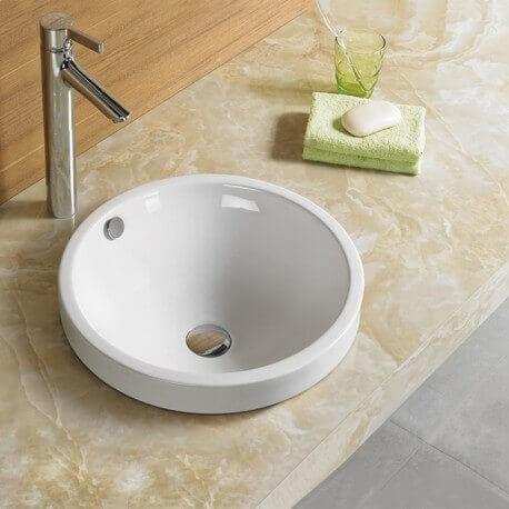 Vasque semi-encastrable ronde céramique Rani | Rue du Bain